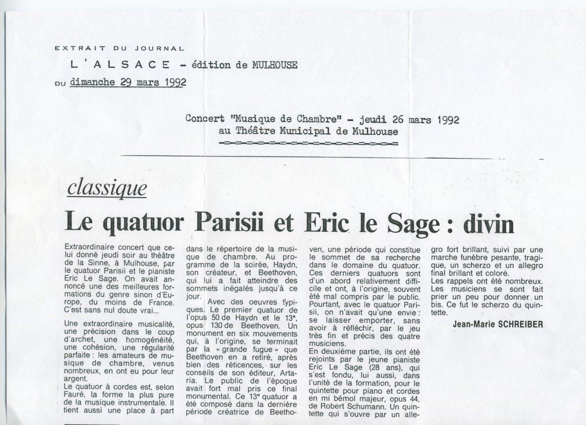 Presse - Quatuor Parisii - L'Alsace