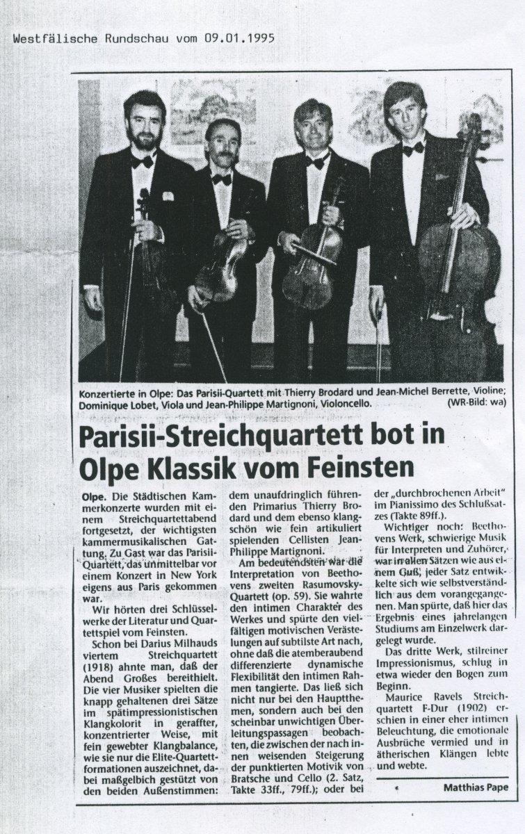 Presse - Quatuor Parisii - Westfälische Rundschau