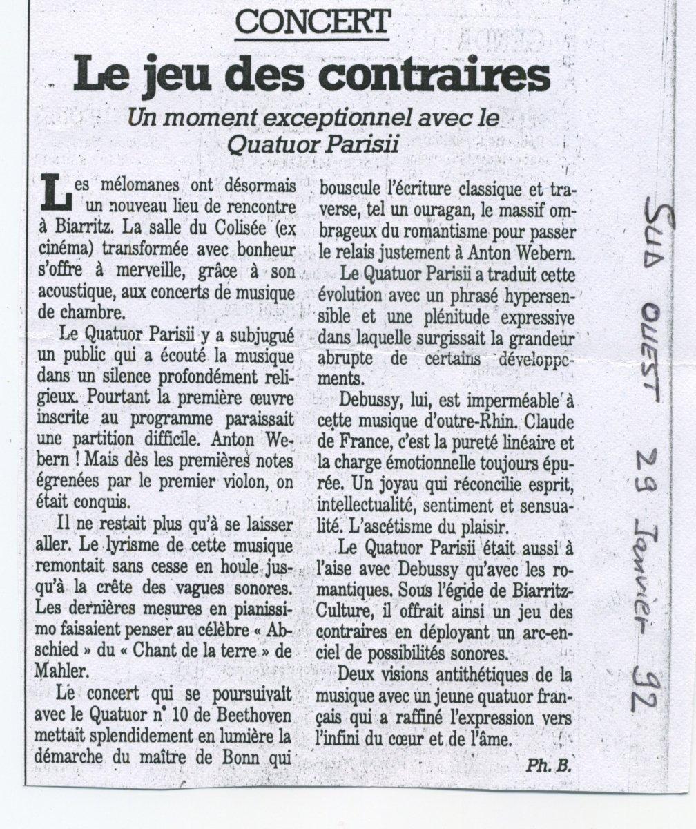 Presse - Quatuor Parisii - Sud-Ouest