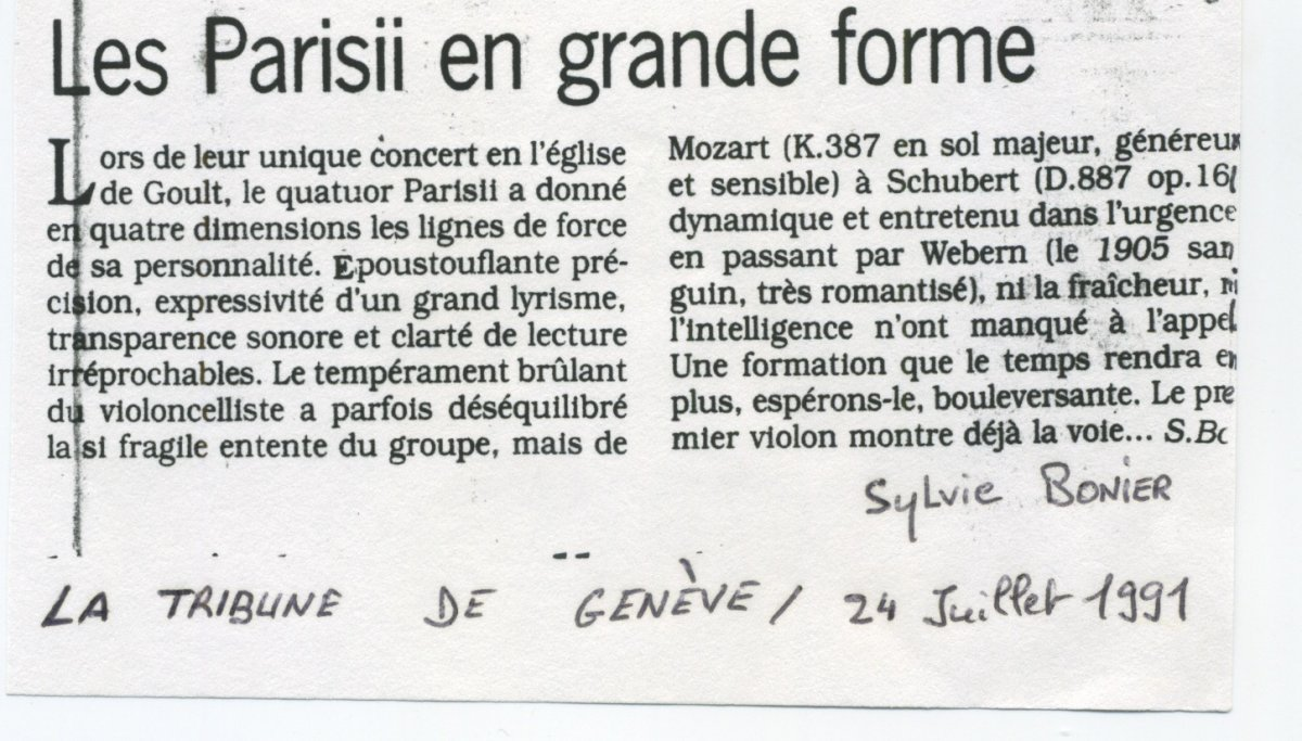 Presse - Quatuor Parisii - La Tribune de Genève